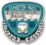 Aged Vintage 1999 Dated Car Show Exhibitor Pass Design Vinyl Car sticker decal  89x87mm